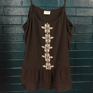 Mossimo Black Embroidered and Lace Detail Cami